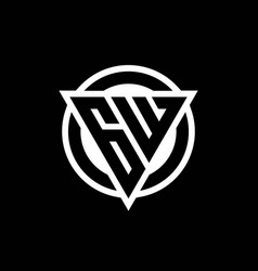 gw logo with negative space triangle shape vector image