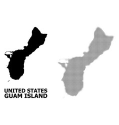 Halftone mosaic and solid map guam vector