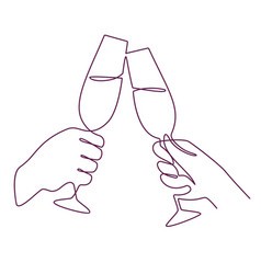 hands with champagne glasses linear mans and vector image