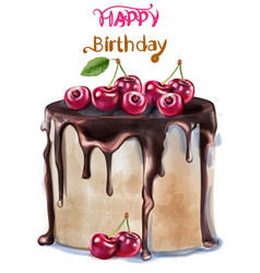 happy birthday delicious cherry cake vector image