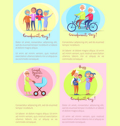 Happy grandparents day senior couples and children vector
