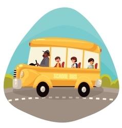 Happy primary students riding school bus vector