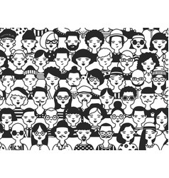 horizontal backdrop with faces or heads of vector image