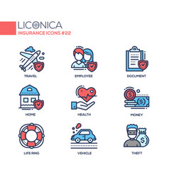 Insurance - coloured modern single line icons set vector