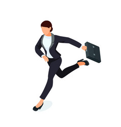 isometric running businesswoman isolated vector image