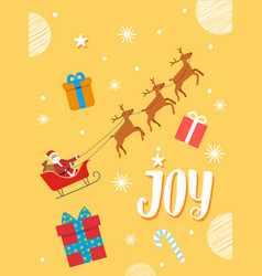 joy christmas card with santa and gift vector image
