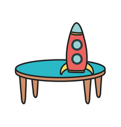 Kids toy plastic rocket on table toys vector