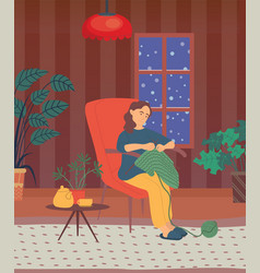Knitting woman leisure lady in winter vector