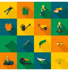 Lawn Man Icon Flat vector