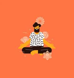 man doing lotus pose yoga with chakra icons vector image