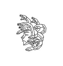 Mono line abstract medusa head with snakes logo vector