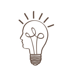 Monochrome silhouette of light bulb with glass in vector