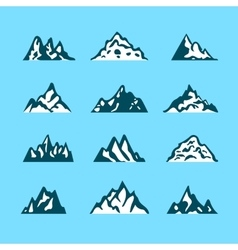 Mountain icon brush hand made stroke ink design vector image