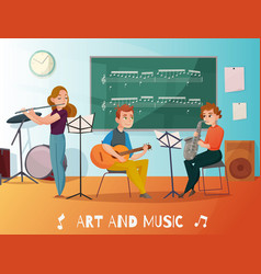 Music lesson cartoon vector