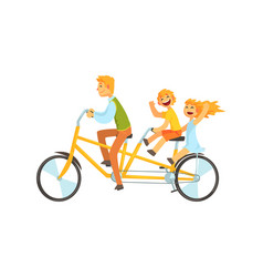 Parent cycling with his kid vector
