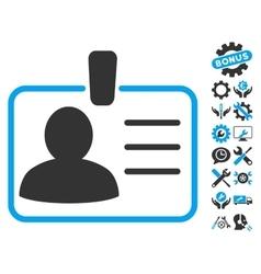 Personal Badge Flat Icon With Tools Bonus vector