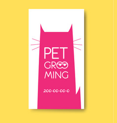 pet grooming label with cat silhouette pet care vector image