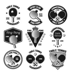 ping pong or table tennis black emblems vector image