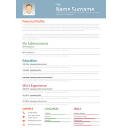 professional resume cv structured template vector image