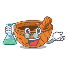 professor character cartoon wooden mortar and vector image
