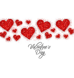 red glitter hearts valentine day banner vector image