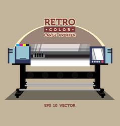 Retro color large printer vector