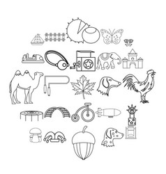 rural activity icons set outline style vector image