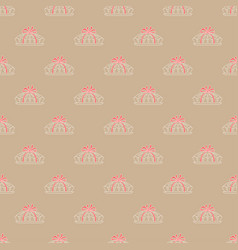seamless pattern pie with red ribbon in kraft vector image