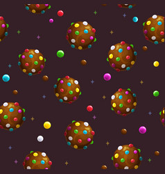 seamless pattern with cartoon round colorful vector image