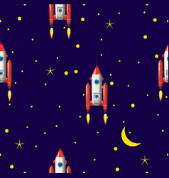 Seamless rocket pattern stars and space vector