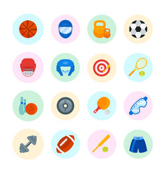 Set flat icons sports equipment vector