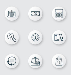 Set of 9 ecommerce icons includes finance vector