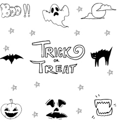 Set of halloween scary doodle vector image
