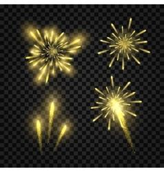 Set of isolated golden festive fireworks vector image