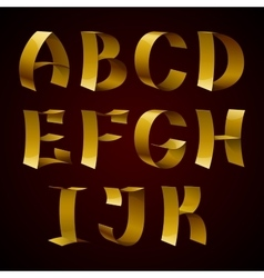 Set of isolated golden shiny ribbon font A-K vector