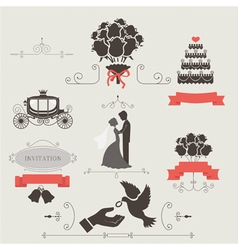 set vintage elements for wedding invitation vector image
