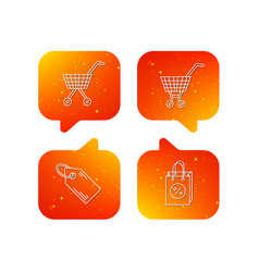 shopping cart discounts bag and price tag icons vector image