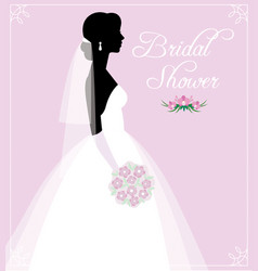 silhouette of a young bride in a wedding dress vector image