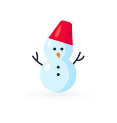 simple snowman icon in flat style vector image