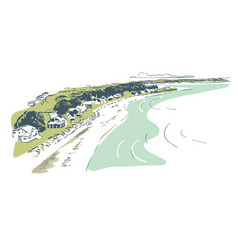 sketch landscape line skyline watercolor vector image