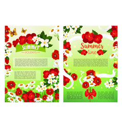 Summer blooming flowers holiday poster vector