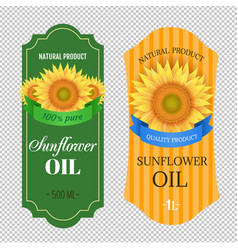 sunflowers oil labels isolated transparent vector image