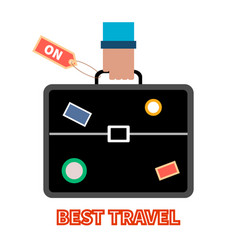 travel briefcase with stickers in mans hand vector image