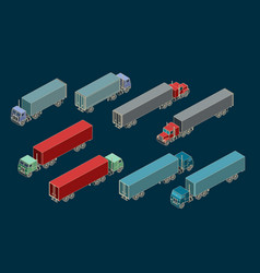 trucks and trailers isometric set vector image