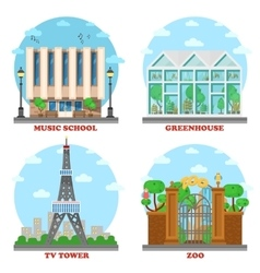 TV station and music school zoo greenhouse vector image
