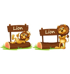 Two lions standing by the wooden sign vector