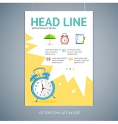 Wakeup clock brochure flyer design vector
