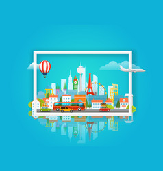 With cityscape travel concept vector