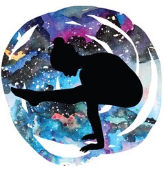 Women silhouette firefly yoga pose tittibhasana vector