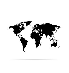 world map black colored on a white background vector image